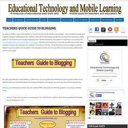 Teachers Quick Guide to Blogging