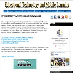 13 Wiki Tools Teachers should Know about