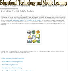 Educational Technology and Mobile Learning: Great Subject Area Web Tools for Teachers