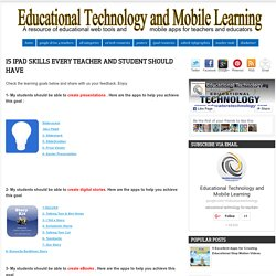 15 iPad Skills Every Teacher and Student should Have ~ Educational Technology and Mobile Learning