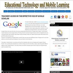 Teacher's Guide on The Effective Use of Google Scholar