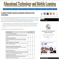 A Great Project Based Learning Checklist for Teachers