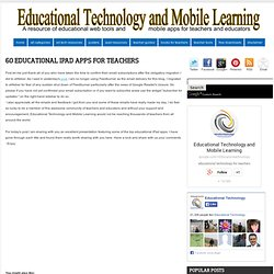 60 Educational iPad Apps for Teachers