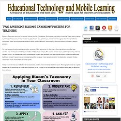 Educational Technology and Mobile Learning: Two Awesome Bloom's Taxonomy Posters for Teachers