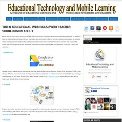 The 31 Educational Web Tools Every Teacher Should Know about