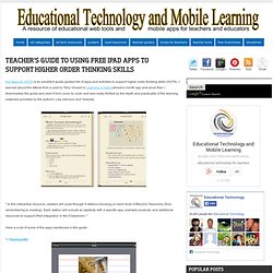 Teacher's Guide to Using Free iPad Apps to Support Higher Order Thinking Skills