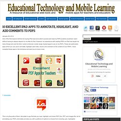 Educational Technology and Mobile Learning: 10 Excellent iPad Apps to Annotate, Highlight, and Add Comments to PDFs