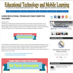 A New Educational Technology Cheat Sheet for Teachers
