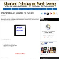 Great iPad Tips and Resources for Teachers
