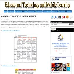 Great Back to School Ed Tech Rubrics