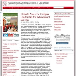 Climate Matters: Campus Leadership for Educational Success