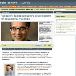 Research: Tablet computers good medium for educational materials