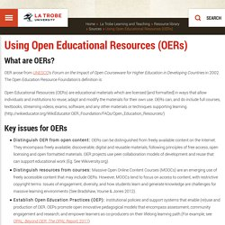 Using Open Educational Resources (OERs), La Trobe Learning and Teaching, La Trobe University