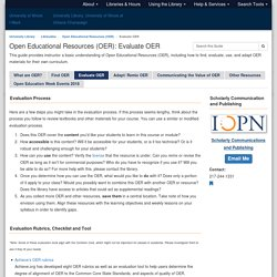 Evaluate OER - Open Educational Resources (OER) - LibGuides at University of Illinois at Urbana-Champaign
