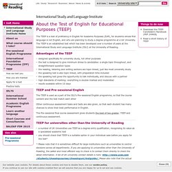 About the Test of English for Educational Purposes (TEEP) - ISLC
