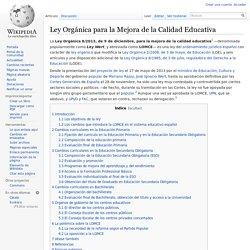 Ley Orgánica para la Mejora de la Calidad Educativa