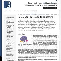 Pacte pour la Réussite éducative — Observatoire de la Réussite Educative