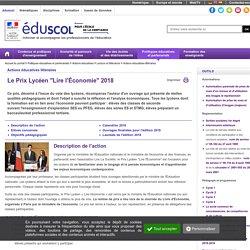 Prix lycéen Economie : Actions éducatives littéraires - Le prix lycéen de l'Économie 2018