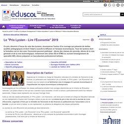 Actions éducatives littéraires - Le prix lycéen de l'Économie 2019