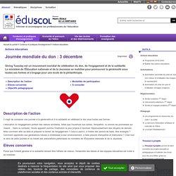 Actions éducatives - Journée mondiale du don : 3 décembre