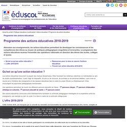 Actions éducatives - Programme prévisionnel des actions éducatives