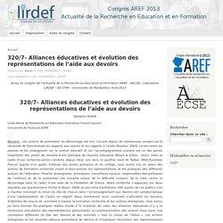 320/7- Alliances éducatives et évolution des représentations de l'aide aux devoirs
