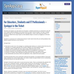 For Educators, Students and IT Professionals – SynApp2 is the Ticket