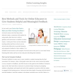 Best Methods and Tools for Online Educators to Give Students Helpful and Meaningful Feedback