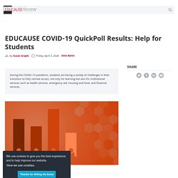 EDUCAUSE COVID-19 QuickPoll Results: Help for Students