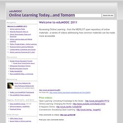 eduMOOC: Online Learning Today... and Tomorrow