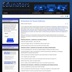 Edunators - Helping Teachers Overcome Obstacles and Focus on Learning - 30 Questions For Teacher Reflection