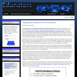 Edunators - Helping Teachers Overcome Obstacles and Focus on Learning - Simplifying the Common Core in Social Studies