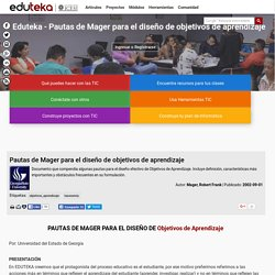 Diseño de objetivos de aprendizaje - Pautas de Mager
