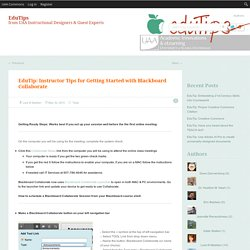 EduTip: Instructor Tips for Getting Started with Blackboard Collaborate
