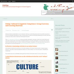 Edutip: Cultural & Linguistic Competence: Group Exercises and Learning Materials