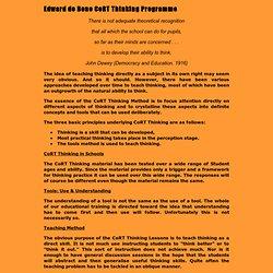 Edward de Bono CoRT Thinking Programme