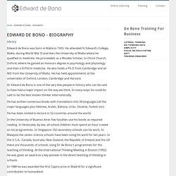EDWARD DE BONO - BIOGRAPHY
