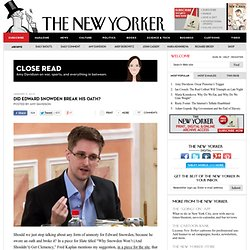 Did Edward Snowden Break His Oath?