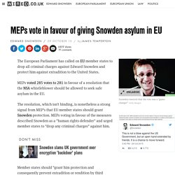 Edward Snowden: MEP vote urges EU to grant safe asylum