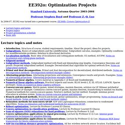 EE392o: Optimization Projects