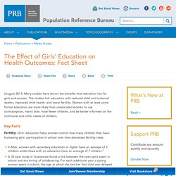 The Effect of Girls' Education on Health Outcomes: Fact Sheet