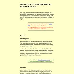 The effect of temperature on rates of reaction
