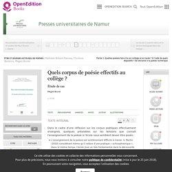 Être et devenir lecteur(s) de poèmes - Quels corpus de poésie effectifs au collège? - Presses universitaires de Namur