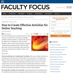 How to Create Effective Activities for Online Teaching Faculty Focus