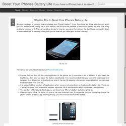Boost Your iPhones Battery Life: Effective Tips to Boost Your iPhone's Battery Life