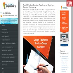 Top Effective Design Tips from a Brochure Design Company