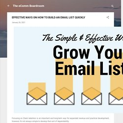 EFFECTIVE WAYS ON HOW TO BUILD AN EMAIL LIST QUICKLY