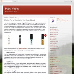 Papa Vapes: Effective Tips for Choosing the Best Cheap E-Liquid