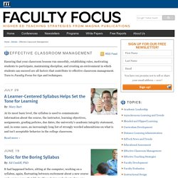Effective Classroom Management in Higher Education