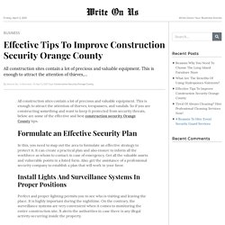 Effective Tips To Improve Construction Security Orange County
